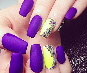 nails, purple, and yellow image