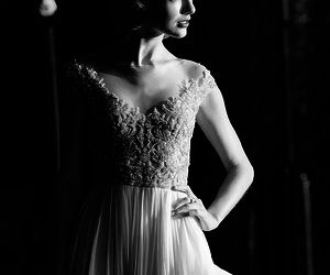 beautiful., black and white, and dress image