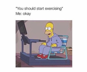 funny, exercise, and homer image
