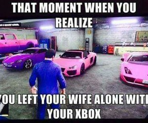wife, xbox, and funny image
