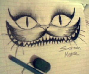 art, blank and white, and Cheshire cat image
