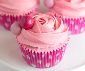 cupcake, pink, and delicious image