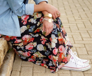 jeans, look, and maxi skirt image