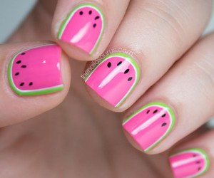 design, nail, and watermelon image