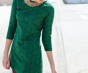 dress, green, and style image