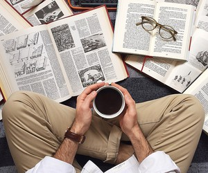 books, glasses, and man image