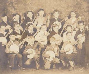 banjo, black and white, and boys image