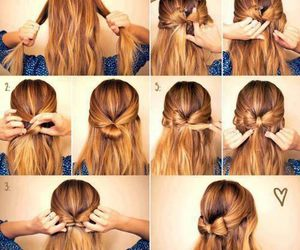 bow, hairstyle, and tutorial image