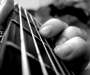black and white, music, and guitar image