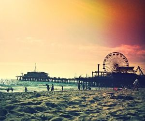 santa monica, sunset, and california beach image