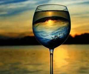 glass, sunset, and photography image