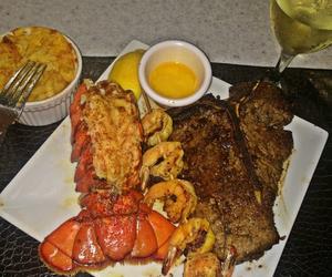 food, shrimp, and steak image