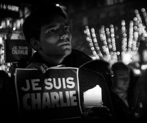 black and white, rip, and charlie hebdo image