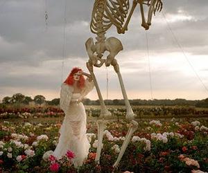 tim burton, skeleton, and flowers image