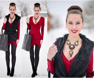 fur coat, red dress, and winter image