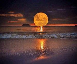 moon, sea, and beach image
