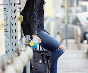 outfit, fashion, and leather image