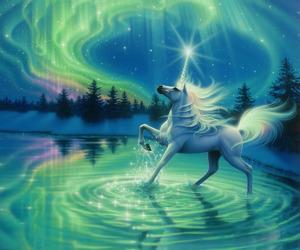 unicorn, drawing, and stars image