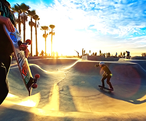 skate, skateboard, and sun image