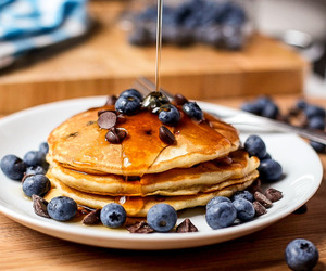 pancakes, blueberry, and breakfast image