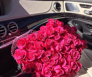 car, roses, and girl image