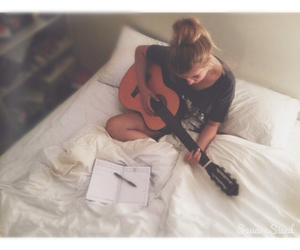 guitar, girl, and love image