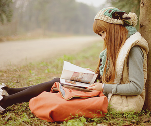 girl, book, and ulzzang image