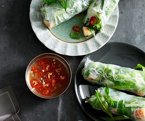 asian food, spring rolls, and healthy food image