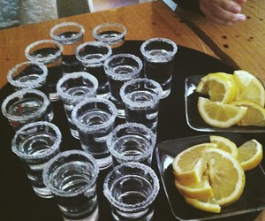 tequila, lemon, and drink image