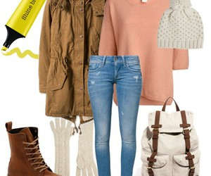 bag, outfit, and sweather image