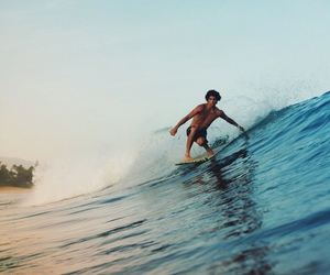 boy, surf, and ocean image