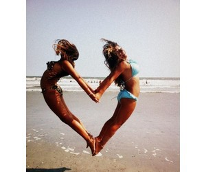 beach, heart, and besties image