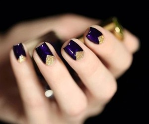 nails, gold, and manicure image