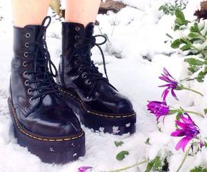 doc martens, snow, and fashion image