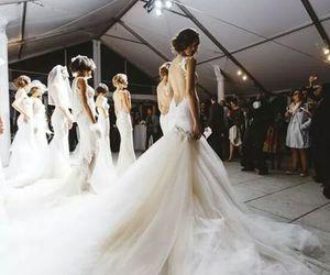 bride, catwalk, and dress image