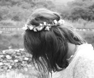 flowers, girl, and black and white image