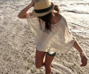 beach, girl, and hat image