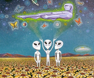 alien, trippy, and ufo image