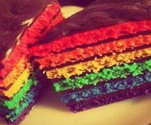 cake, brightly, and rainbow image