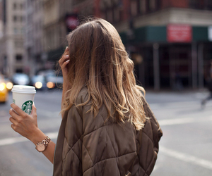 fashion, starbucks, and hair image