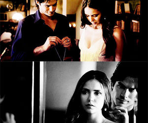 elena gilbert, damon salvatore, and the vampire diaries image