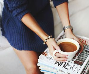 coffee, magazine, and sweater image