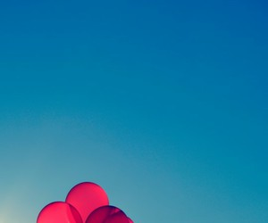 balloons, sky, and red image