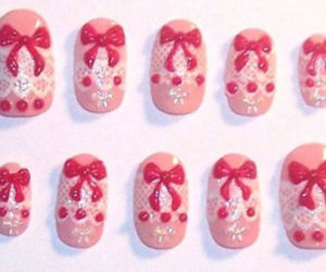 pink nails with bows image