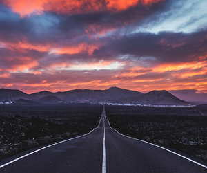 road, sky, and sunset image