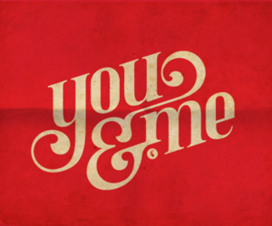 you and me, red, and text image