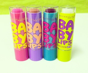 makeup, baby lips, and Maybelline image