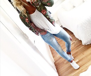 jeans, white, and jersey image