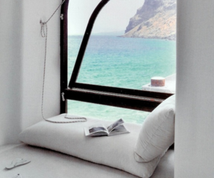 sea, window, and white image