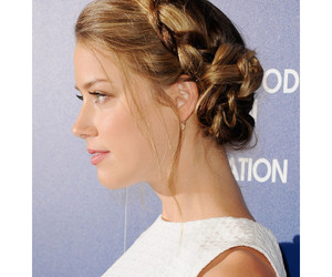 amber heard, braid, and hair image